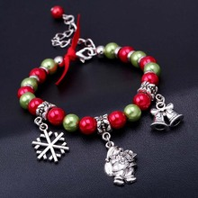 2019 Christmas Santa Claus Bracelet Snowflake Pendant Christmas Decoration for Home Happy New Year Christmas Ornaments Xmas Gift new alloy gorgeous fashion christmas theme snowman cane santa claus color pendant bracelet bracelet christmas best gift jewelry