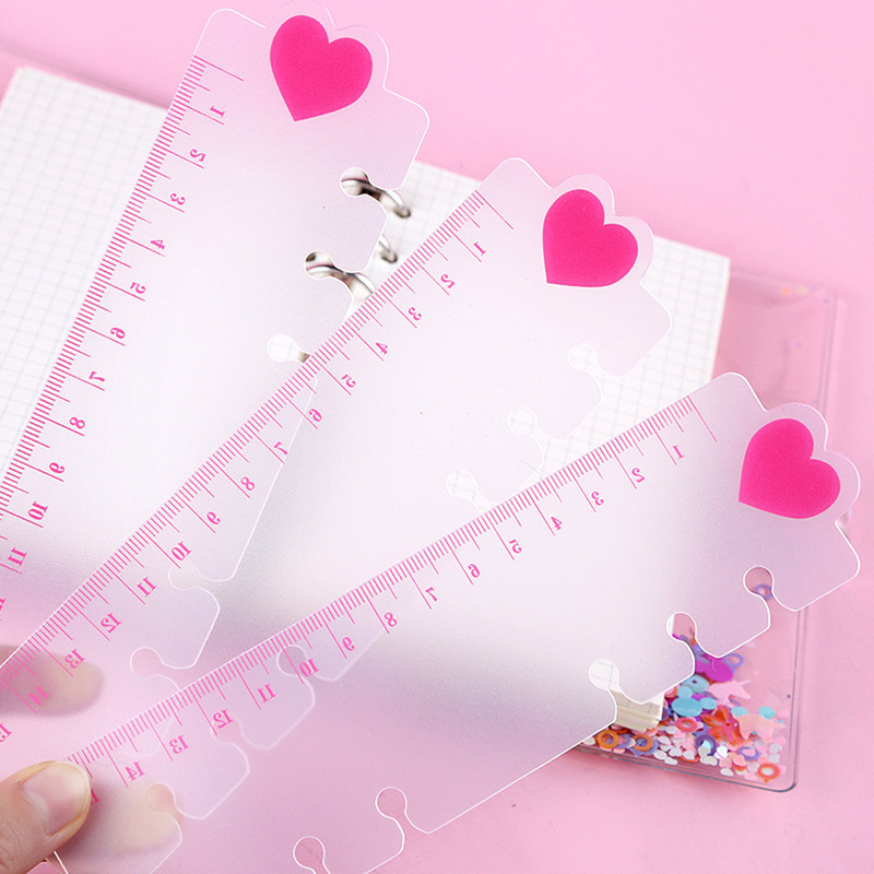 2 Pcs Cute Ruler For 6 Holes Loose Leaf Spiral Notebook Index Ruler Bookmark Loose-Leaf Separator Page Notebooks Accessories