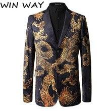 Win Way, новинка, черный блейзер, костюм в китайском стиле, приталенный, с принтом дракона, китайский костюм, роскошный Повседневный Блейзер жениха