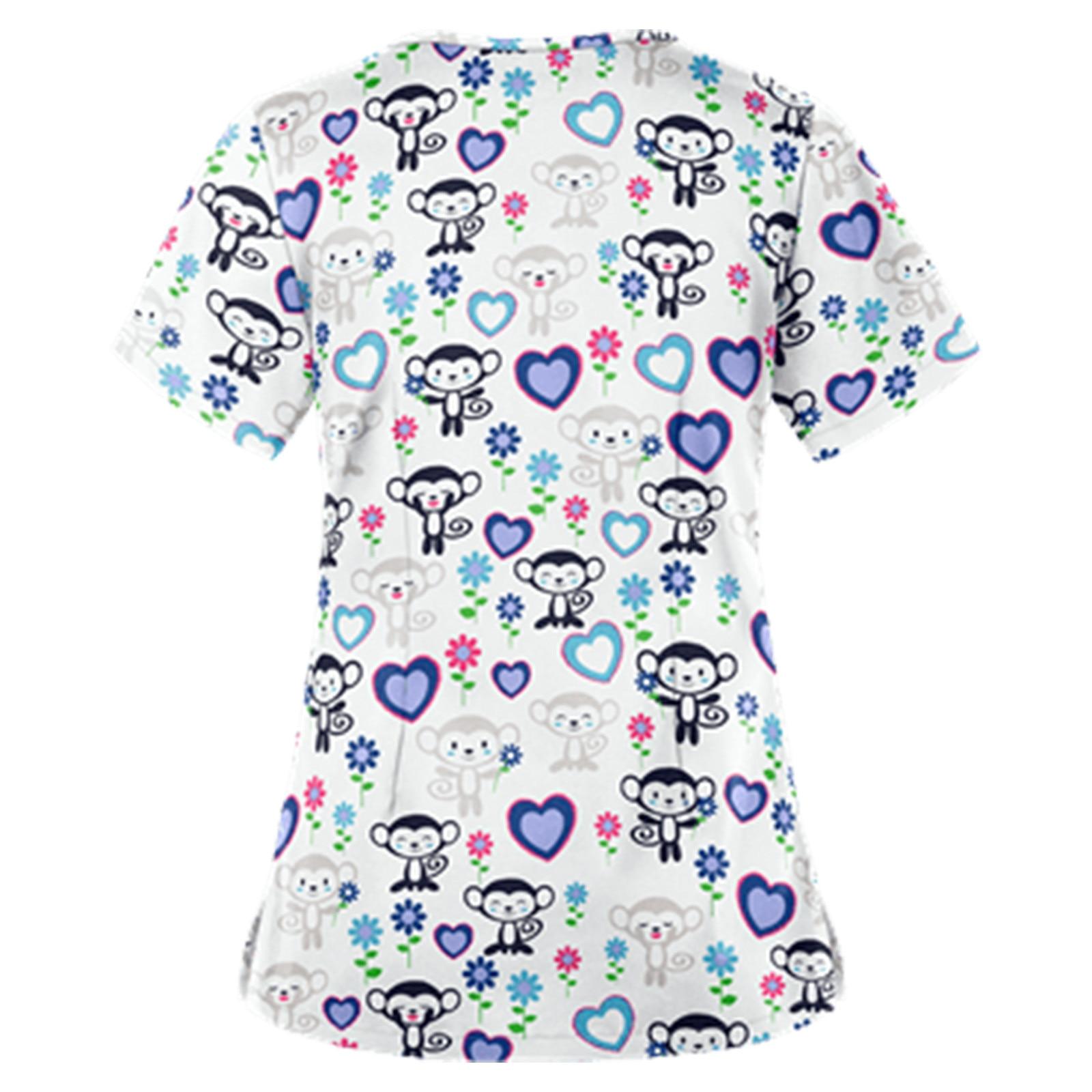 Working Uniform Women T-Shirts Print Scrubs Tops 2021 Summer Short Sleeve V-Neck Tee Working Uniform T Shirts женские футболки