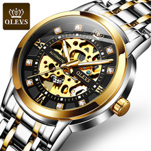 OLEVS Mens Watches Top Brand Luxury Automatic Mechanical Skeleton watch Business Hight quality Stainless Steel WristWatch hot sale luxury golden watch mens automatic mechanical watches for males full steel hollow skeleton dial unisex cool wristwatch