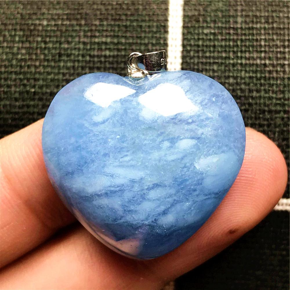 Top Natural Ocean Blue Aquamarine Heart Pendant Jewelry For Woman Lady Man Clear Crystal 925 Silver 27x10mm Beads Gemstone AAAAA