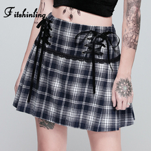 цена на Fitshinling Harajuku Houndstooth Plaid Skirts For Women Lace Up A Line High Waist Skirt Femme Vintage Lace Splice Winter Faldas