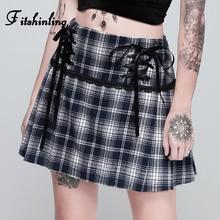 Fitshinling Harajuku Houndstooth Plaid Skirts For Women Lace Up A Line High Waist Skirt Femme Vintage Splice Winter Faldas
