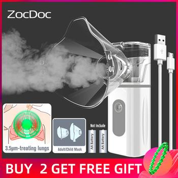 Nebulizator przenośna opieka zdrowotna maszyna do inhalacji parowej urządzenia medyczne opieka nad dzieckiem zdrowie inhalator dla astmatyków inhalator ultradźwiękowy tanie i dobre opinie ZocDoc Chin kontynentalnych WHQ-N3S Grid atomizer ≥0 2ml min 0 5mL-10mL 120KHz ± 10 USB AAA Batteries *2(NOT INCLUDED)