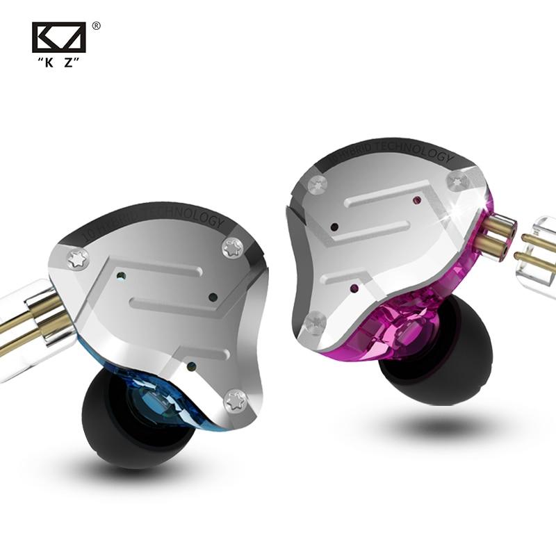 Zs10 pro no ouvido fone metall 4ba + 1dd híbrido 10 unidades de alta fidelidade graves fones monitor esportes cancelamento ruído 2pin