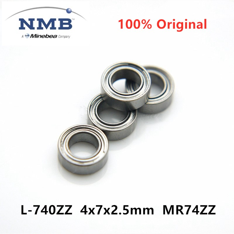 50pcs Original NMB Minebea  L-740ZZ 4x7x2.5mm MR74ZZ ABEC-5 High Speed Miniature Deep Groove Ball Bearing 4*7*2.5