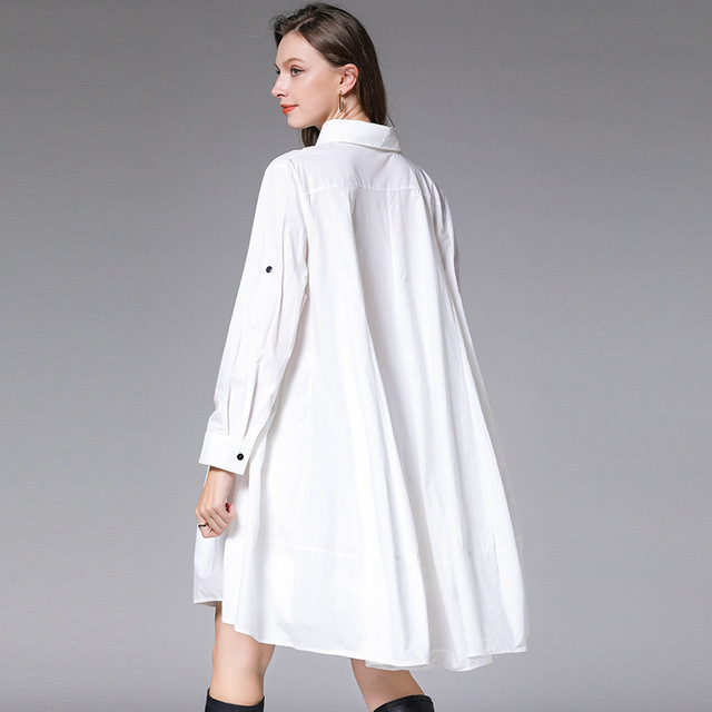 DEAT 2021 New Fashion Casual Oversized  Women's Shirt Dress Loose Wild Button Lapel Collar Full Sleeve Slim Clothes AQ744 6