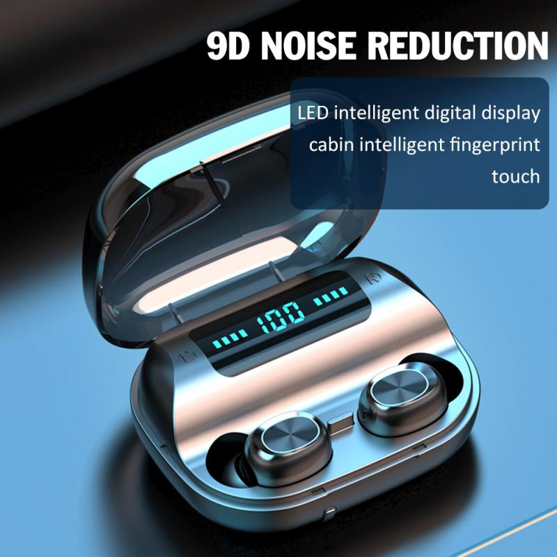 <font><b>TWS</b></font> <font><b>5.0</b></font> Bluetooth 9D Stereo Earphone Wireless Earphones Sport Headphone Touch Control Noise Canceling Headphone With LED Display image