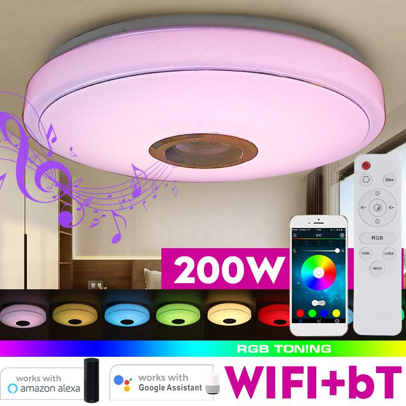 200W WiFi Modern RGB LED Ceiling Lights Home Lighting APP bluetooth Music Light Bedroom Lamp Smart Ceiling Lamp Remote Control