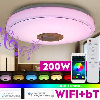 200W WiFi Modern RGB LED Ceiling Lights Home Lighting APP bluetooth Music Light Bedroom Lamp Smart Ceiling Lamp+Remote Control