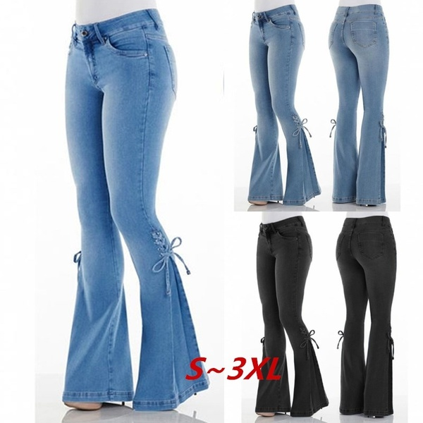 Vintage Low Waist Elastic Flare Jeans Women Retro Style Bell Bottom Skinny Jeans Female Dark Blue Wide Leg Denim Pants Plus