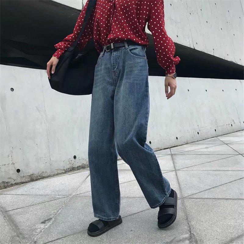 2019 New High Waist Straight Jeans Women Autumn Streetwear Blue Casual Loose Wide Leg Cuffs Jeans Trousers