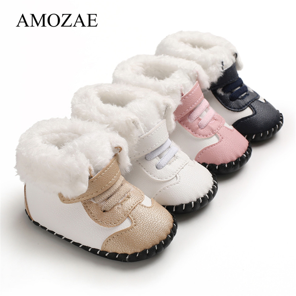 2019 New Arrival Newborn Baby Girls Boys Snow Boots Winter Leather Boots Infant Soft Bottom Shoes Baby PU Furry Warm Boots