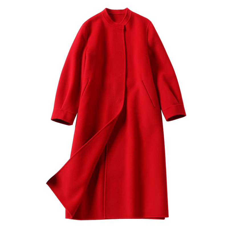Lange wollen blends kasjmier jassen voor vrouwen 2019 herfst winter dames jassen plus size overjas dubbelzijdig rood mode - 5