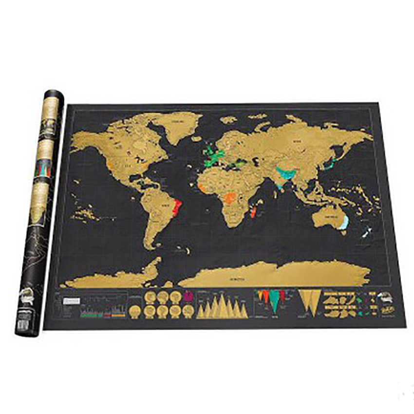 Scratch Off Map Of The World Colorful Travel Map Poster Dazzling Colors Highlight & Preserve Travelling Memories, 82.5x59.4cm