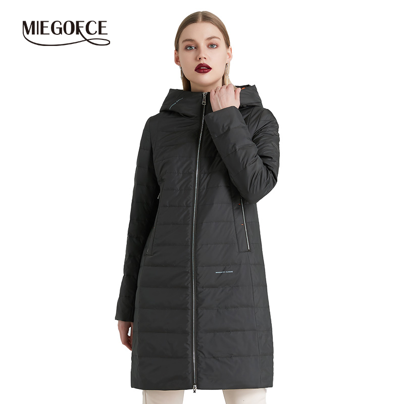 MIEGOFCE 2019 Spring and Autumn Women's Coat Cotton Windproof Hat Women Windbreaker Fashion Thin Section Female Coat New Design-in Parkas from Women's Clothing