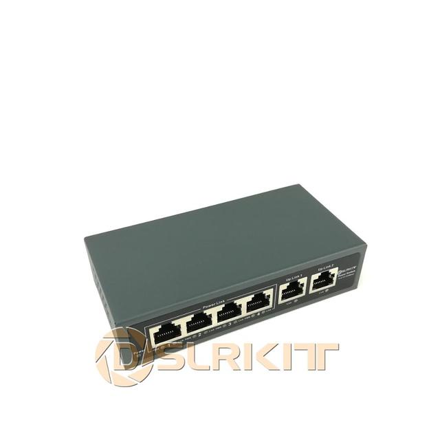 DSLRKIT Injector Power Over Ethernet 5 יציאות 4 PoE מתג ללא כוח מתאם
