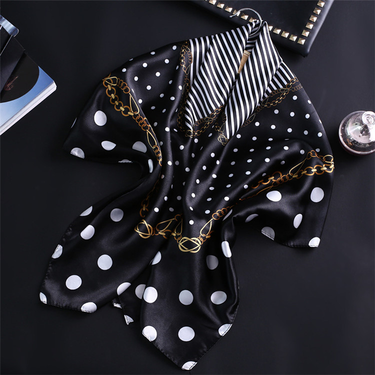 Luxury Brand Silk Square Scarf For Women Hair Tie Band Bandana Pashmina Solid Color Female Foulard Muslim Hijab Stores 90x90cm