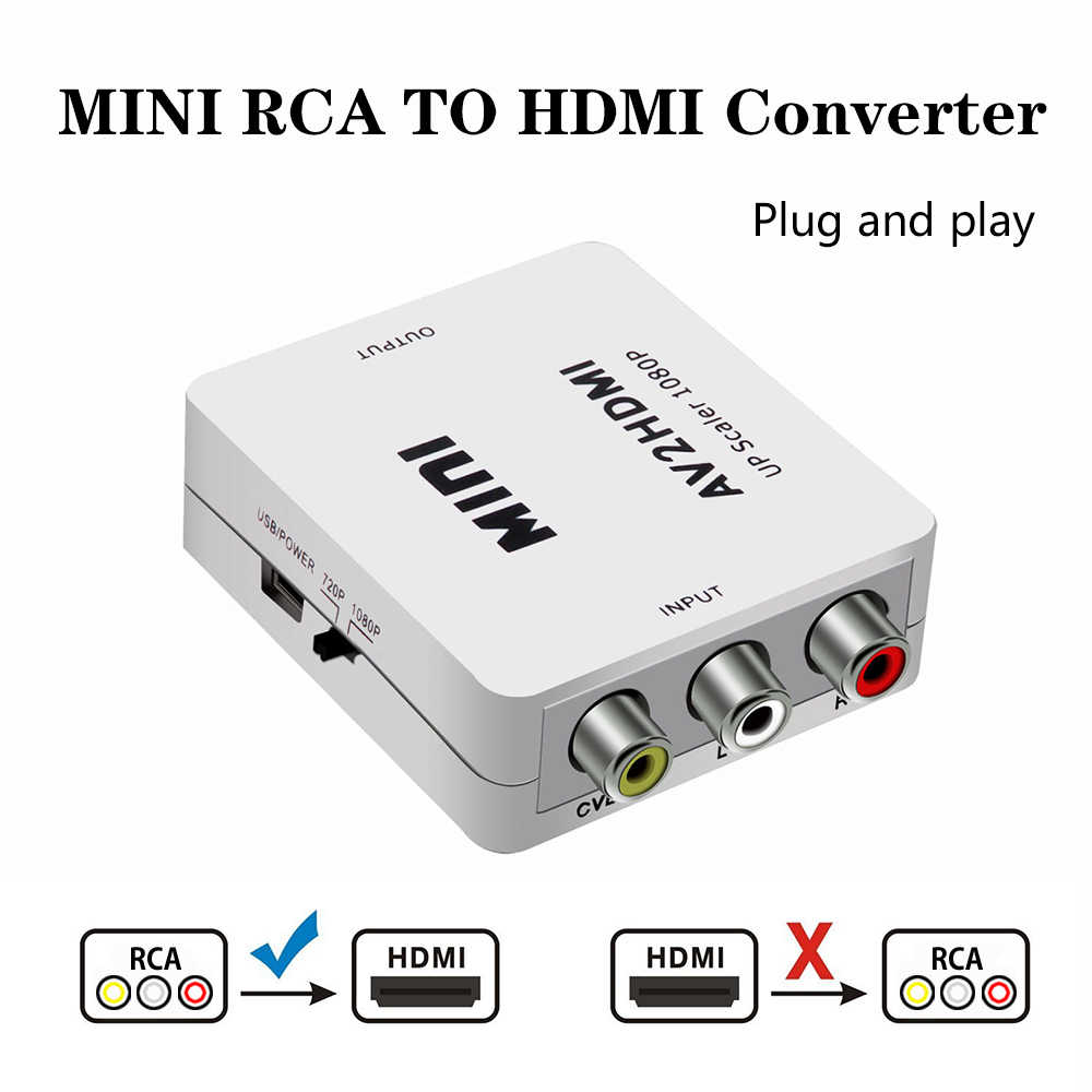 2019 AV/RCA CVBS to HDMI Adapter 1080P Video Converter MINI AV2HDMI Adapter Converter Box For HDTV Projector Set top box DVD