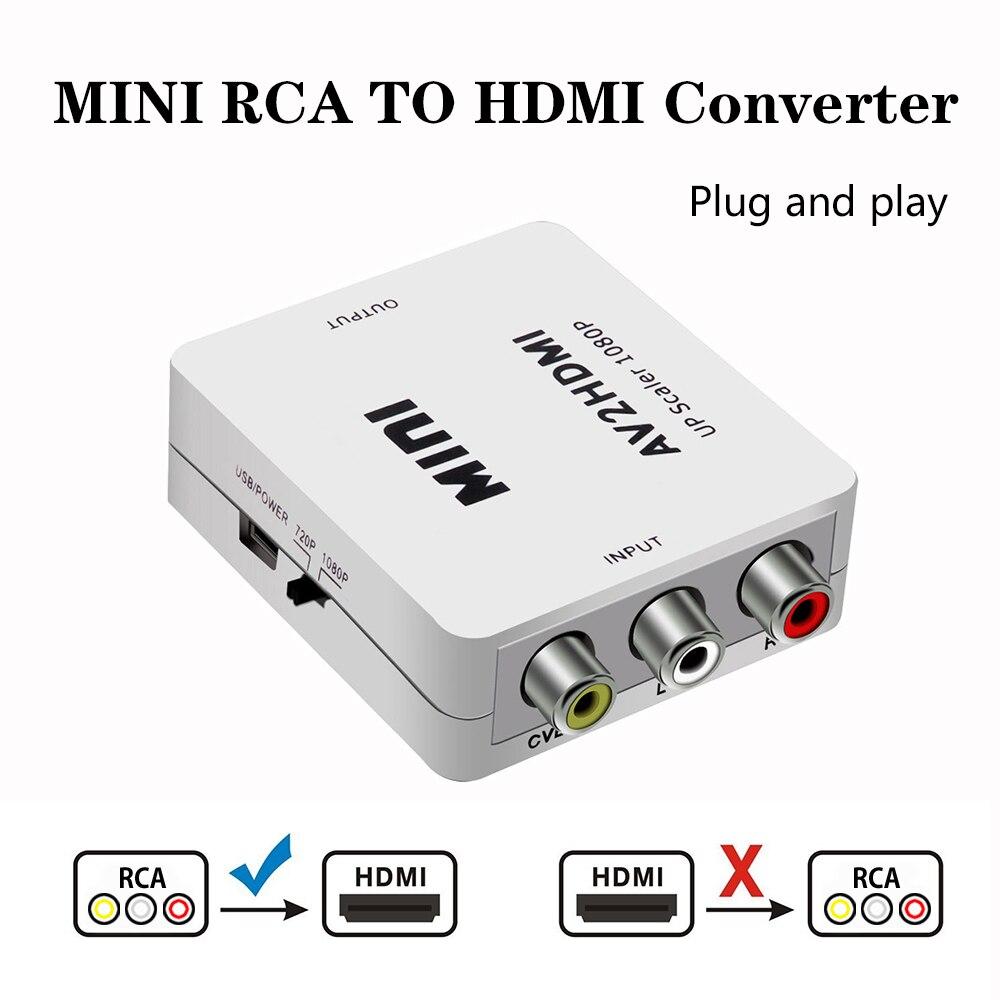 2019 av/rca cvbs para hdmi adaptador 1080p conversor de vídeo mini av2hdmi adaptador conversor caixa para hdtv projetor conjunto caixa superior dvd