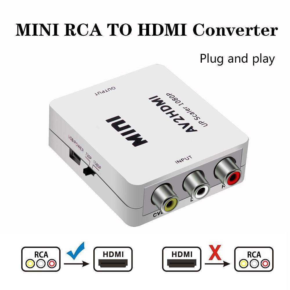 2019 AV/RCA CVBS к HDMI адаптеру 1080P видео конвертер мини AV2HDMI адаптер конвертер коробка для HDTV проектора комплект верхней коробки DVD