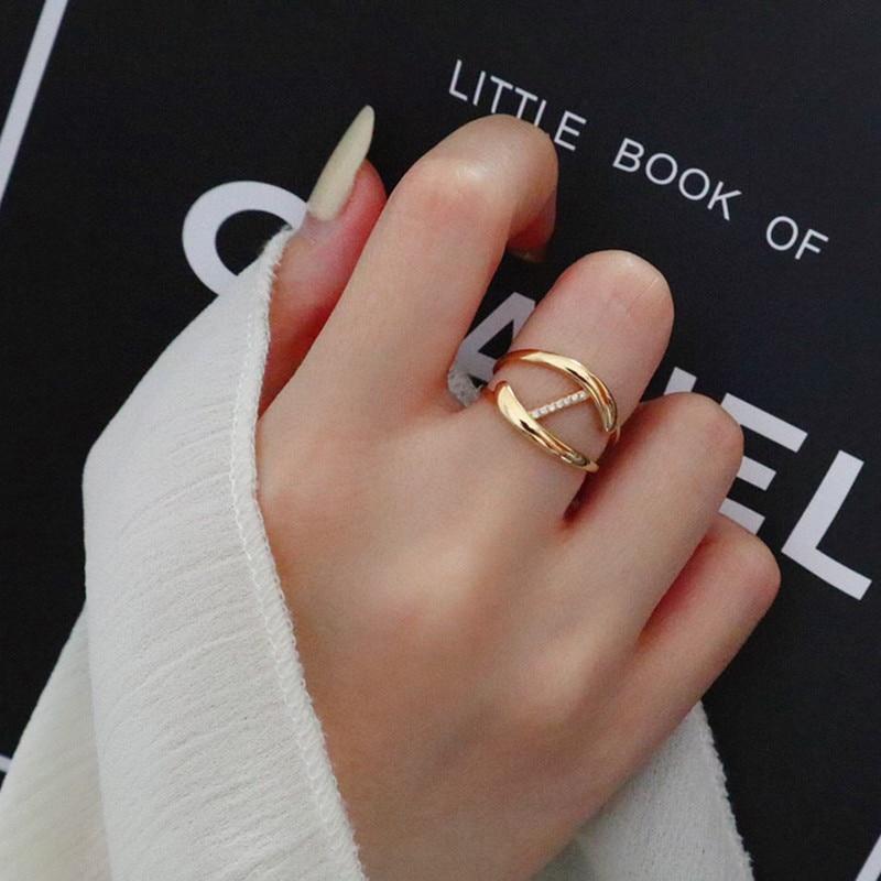 18K Solid Yellow Gold Jewelry(AU750) Women Ins Simple Letter Z shape Designer...