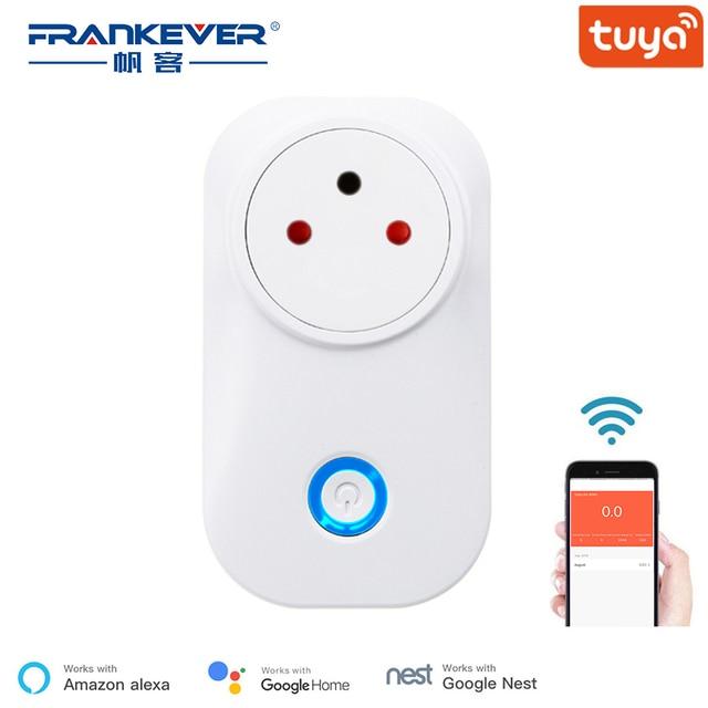 Frankever tuya nuvem 10a 16a wifi inteligente tomada de energia israel monitor sem fio plug trabalho com alexa google casa inteligente doméstico