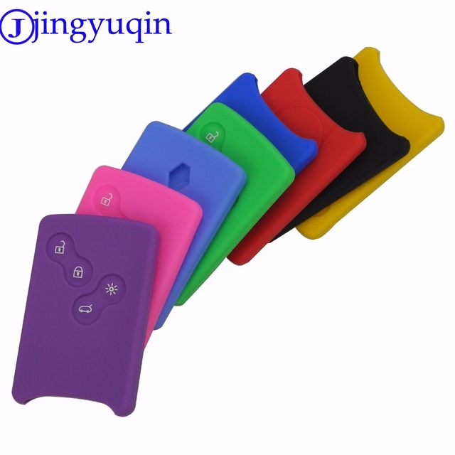 4 Buttons Silicone Rubber Key Cover Case Protector for Renault Clio Logan Megane 2 3 Koleos Scenic Card Keychain Car Styling