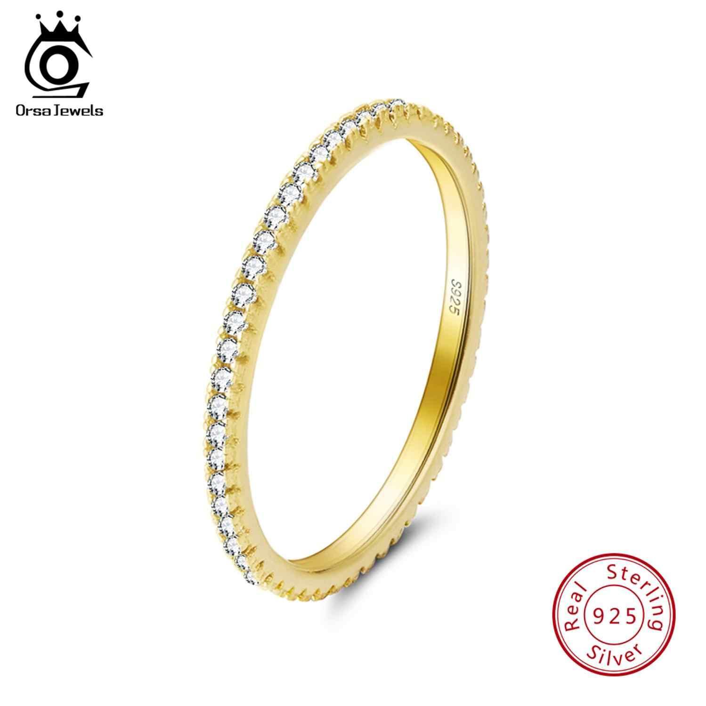 ORSA JÓIAS de Luxo Feminino Anel De Casamento de Noiva Moda 925 Jóias de Prata Promessa CZ Pedra Anel de Noivado para As Mulheres SR63-R