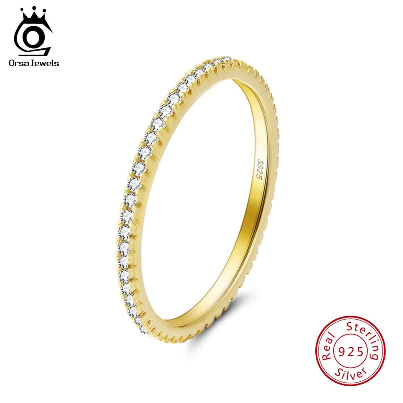 ORSA JEWELS Luxury หญิงเจ้าสาวงานแต่งงานแหวนแฟชั่นเงิน 925 เครื่องประดับสัญญา Cz หมั้นแหวน SR63-R