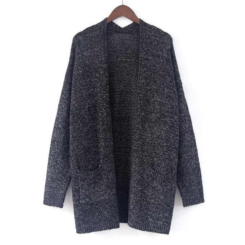 2019 סתיו נשים סוודר מעיל ארוך שרוול מוצק פתוח תפר אפודות Slim מזדמן סרוג Oversize נשים להאריך ימים יותר מעיל חולצות