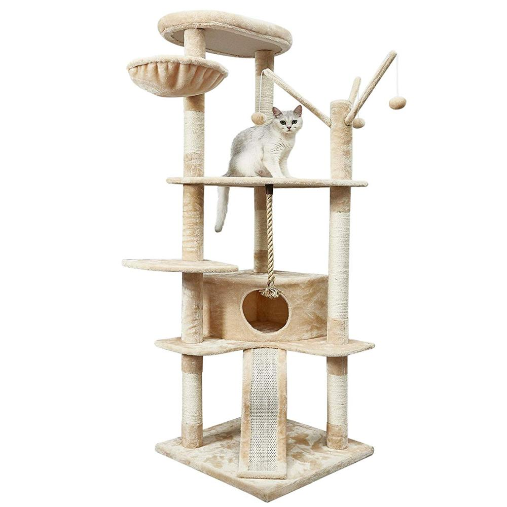 <font><b>Cat</b></font> <font><b>Tree</b></font> <font><b>Large</b></font> Size <font><b>Cat's</b></font> Claw Climbing Frame Kitten Scratching Board 6 Levels Toy <font><b>Large</b></font> Niches with <font><b>Cat</b></font> Slide Height 168cm C04 image