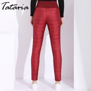 Image 4 - Pantalon dhiver en duvet de canard pour femmes, grande taille, noir, taille haute, slim, chaud, en velours, pantalon crayon, élastique, collection décontracté