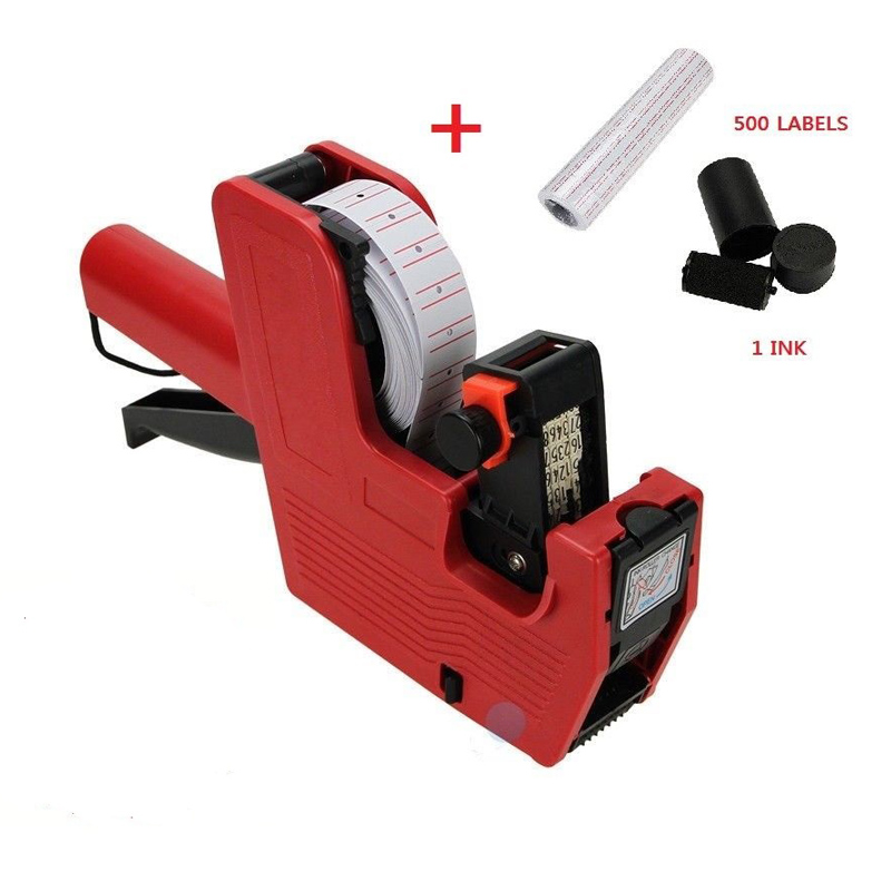 MX-5500 8 Digits Price Tag Gun + 500 White W/ Red Lines Labels + Ink