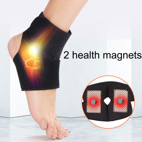 2pcs Self-heating Tourmaline Far Infrared Magnetic Therapy Ankle Care Belt Support Heel Brace Massager Foot Health Care Lahore