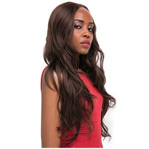 Image 3 - 중간 갈색 합성 머리 레이스 가발 여성을위한 X TRESS 금발 613 긴 물결 모양의 레이스 프론트 가발 자연 헤어 라인 중간 부분
