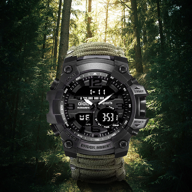 AIDIS Survive Outdoor Watch Emergency with Night Vision 30M Waterproof Paracord Knife Compass Whistles First Aid Kits G Style 1