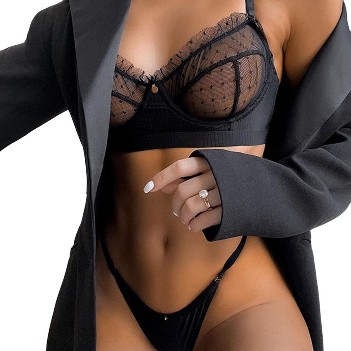 Женское сексуальное прозрачное нижнее белье, сетчатый цветочный бюстгальтер с v-образным вырезом, эластичные плавки, комплект черного нижн...