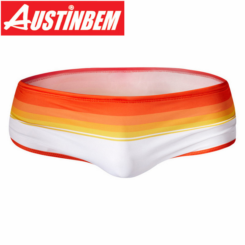 Austinbe Men's Man Swimwear Rainbow Stripes Swimsuits Swimming Shorts Sports Suits Surf Board Shorts Trunks Men Swim Suit Summer