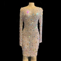 Luxurious Rhinestones Pearls Mesh Long Sleeve Short Dresses Women Birthday Celebrate Prom Party Dress Singer Performance Outfit