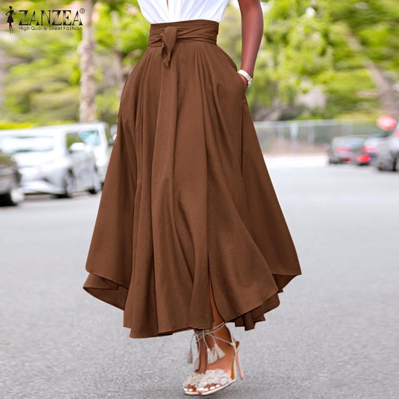 ZANZEA Fashion Irregular Skirts Holiday Zipper High Waist A Line Skirts 5XL Womens Summer Long Skirts Vintage Beach Solid Skirts 3
