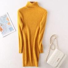 autumn winter long sweater women turtleneck Mink Cashmere sweaters striped full