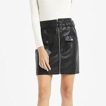 купить High Waist Mini Short Skirt Stretch Party Vestidos S-XXL Plus Size 2019 Modis Winter Autumn Women Black PU Leather Pencil Skirts онлайн