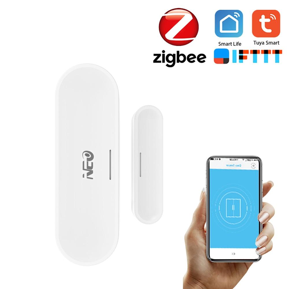 NEO ZigBee capteur de porte Tuya APP contrôle porte fenêtre ouverture capteur dalarme de sécurité interrupteur magnétique détecteur sans fil maison intelligente