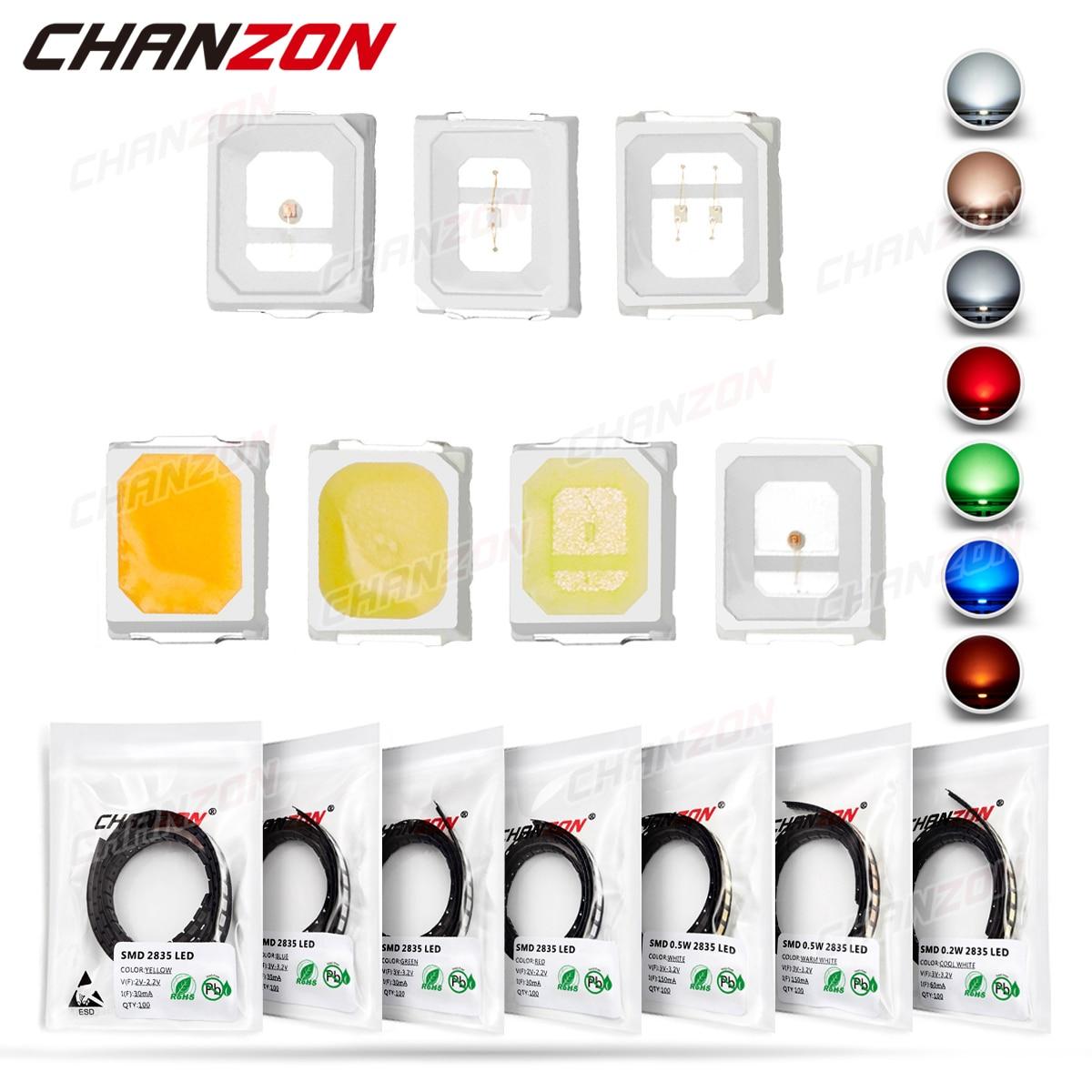 100 шт. 2835 SMD светодиодные излучающие диоды, чип лампы светильник вые бусины, Теплый Холодный белый красный зеленый синий желтый цвет Micro DIY PCB ...