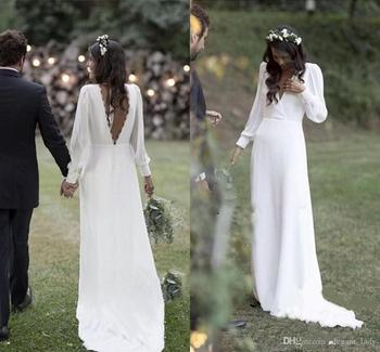 2020 Bohemian Country Wedding Dresses V-Neck Backless Long Sleeve Beach Plus Size Wedding Dress Vestido De Novia