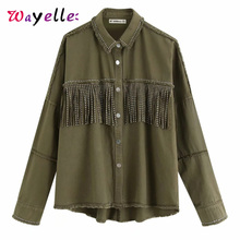 2019 Autumn Tassels Denim Jacket Women Loose Army Green Button Coat Woman Jeans Irregular Hem Jackets For Female
