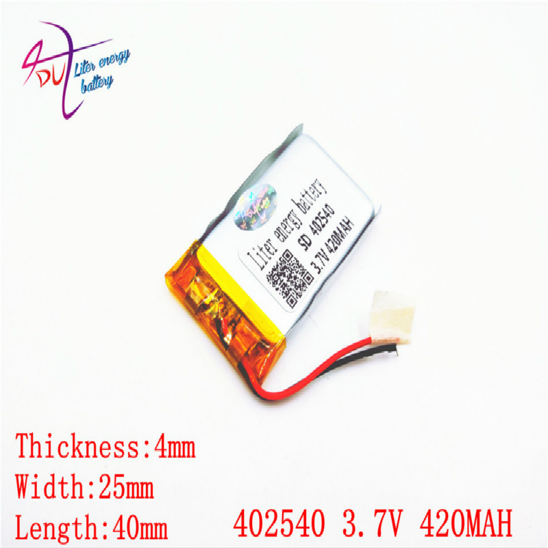 3.7V 420mAh <font><b>402540</b></font> 382540 Lithium Polymer Li-Po li ion Rechargeable Battery For Mp3 MP4 MP5 GPS mobile bluetooth image
