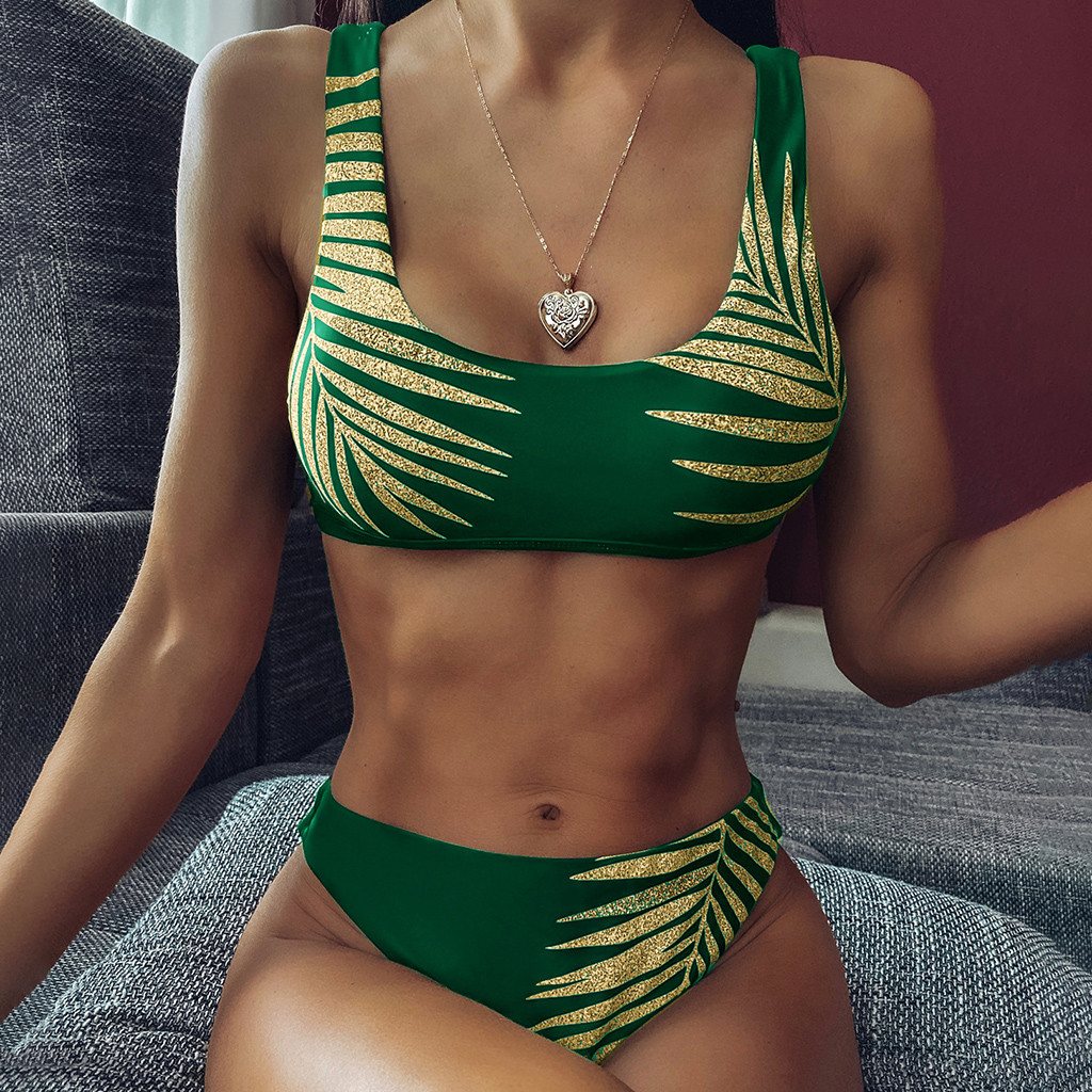 Sexy Push-Up Padded   Bra     Set   Casual Women's Lingerie Leaves Printing Underwear Suits Fashion Ladies Soft Bathing Suits Intimates